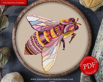 Mandala Bee Cross Stitch Pattern for Instant Download *P310 | Lovely Cross Stitch| Room Decor| Needlecraft Pattern| Easy Cross Stitch