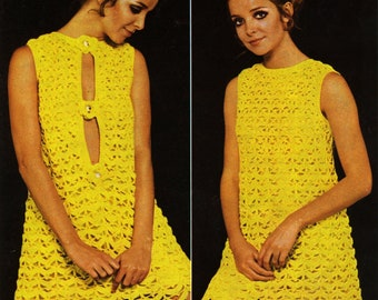 Vintage Dress with Front or Back Opening Crochet Pattern PDF 475 from WonkyZebra