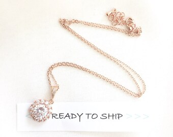 RTS Rose Gold Round Pendant Necklace, Halo cushion cut bridal necklace, wedding necklace, pink gold bridal pendant, simple bridal necklace