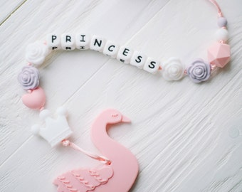 teething pacifier clip silicone teething chew toy chew necklace personalized toy teething little princess personalized gift for baby