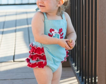 Crab Sunsuit, Baby Girl Sunsuit Romper, Monogrammed Crab Sunsuit, Ruffle Romper, Toddler Girl, Beach Pictures, Gingham Crab Romper