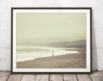 "Ocean Waves Print - Beach Cottage Decor - Nature Wall Art - Beige Tan White - Girls Room Art - Neutral Wall Art ""Listening to the Waves"""