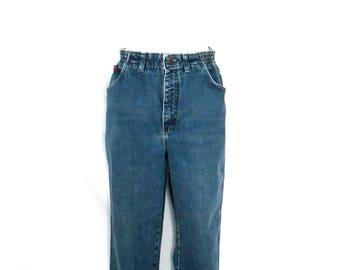 1990's Lee Elastic Waist Jeans High Waist Lee Jeans Vintage 90's Lee Tapered Leg Mom Jeans High Rise Hipster Denim