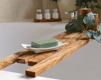 Bathtub caddy, bath bridge (75 cm) made of olive wood