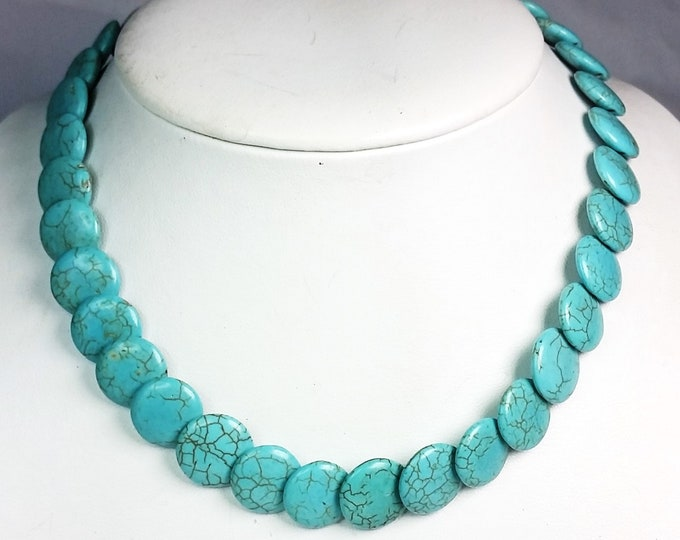Turquoise Magnesite Overlapping Coins Necklace - Adjustable Turquoise Necklace - Round Puffy Coin Shaped Turquoise Necklace