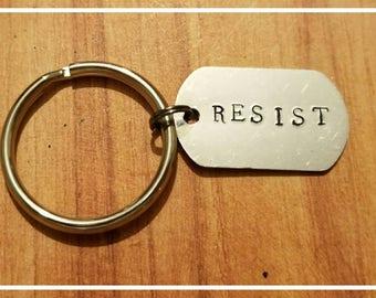 Resist Handstamped Dog Tag Keychain