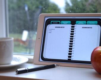 Digital Sermon Notebook- Black & Turquoise