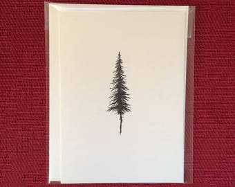 Hand Drawn Card - Pen and Ink Pine Trees - (Single Card)