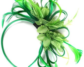 Emerald Green & Lime Green Feathers Fascinator on Headband