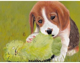 Beagle Puppy A4 Art Print, Pet Portrait.