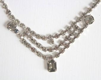 Vintage Rhinestone Necklace, Gray Rhinestone Necklace, Rhinestone Necklace, Vintage Necklace, Wedding Necklace, Bridal Necklace Gray Wedding