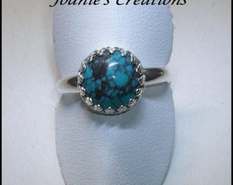 Chinese Turquoise 10mm Stone Ring in Sterling Silver