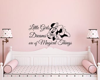 Disney Decal-Minnie Mouse Decal-Girls Bedroom Wall Decals-Little Girls Dreams-Nursery Decor-Nursery Wall Decal-Wall Vinyl Decal-Girl Bedroom