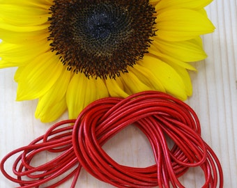 Red: 2mm Round Leather Cord, 15 feet bundle, Indian Leather, Supple Leather, Leather Cording / Jewelry Making Supplies