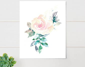 Watercolor Flower Print Pink Rose Floral Large Art
