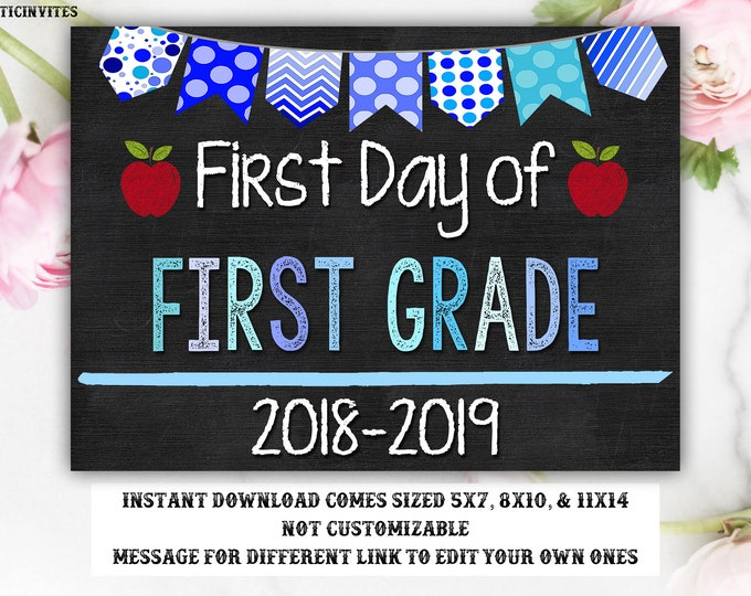 Boy First Day of First Grade Sign, Instant Download, First Day of School Chalkboard, Three Sizes, First Day of School, Chalkboard Sign, 1st