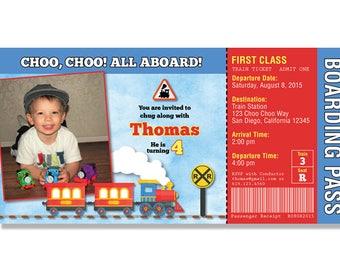 Train Boarding Pass Photo Birthday Invitations - Digital File