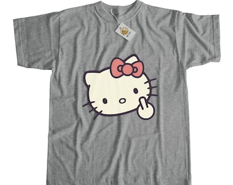 Hello Kitty Tshirt Rude Hello Kitty Shirt Finger Hello Kitty Shirt Cat Girl Cute Hello Kitty Gift For Her Girls Gifts Kitty Tee F You Tshirt