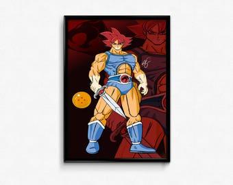 Lion-o x Goku Mashup Thundercats Dragon Ball Z anime manga art print poster.