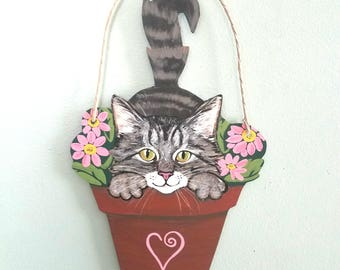 Cat Art - Cat Wall Art - Cat in a Flower Pot - Original Cat Art - Cat Sign - Garden Art - Cat Folk Art - Tabby Cat - Orange Cat - Calico Cat