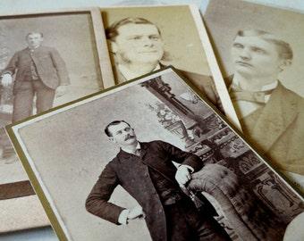 Men in Suits, 4 Cabinet Cards, Antique Black & White, Sepia Photographs, Studio Portraits