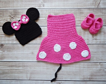 Newborn to 12 months Minnie Mouse set Photo Prop Set  and shoes pink or red MADE TO ORDER
