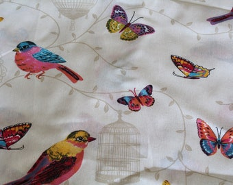 Coupon fabric upholstery butterflies and birds 70 x 50 cm