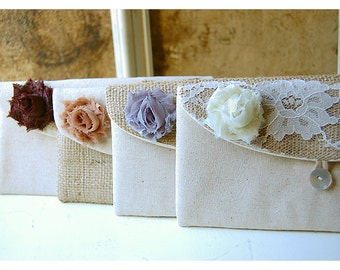 rustic burlap lace clutch wedding Personalize Bridesmaid Gift Idea Bridesmaid Clutch bridal Clutch Bridesmaid Gift Wedding clutch shabby