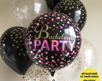 Bachelorette Party Decorations Balloon Bouquet - Bridal Shower Balloons Set Pink Black Gold Confetti Latex Balloons Wedding Ring Balloon