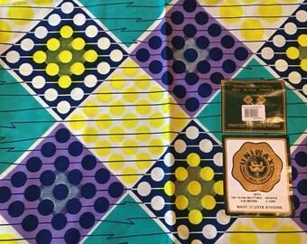 West African Ivory Coast Dutch Wax Print Cotton Fabric