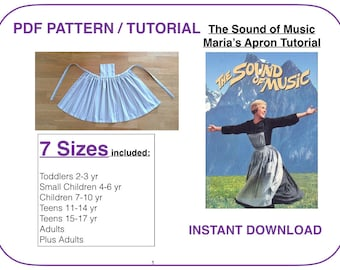 Apron pattern pdf tutorial The Sound of Music Maria pattern 7 sizes for all ages pianfore apron sewing pattern Woman apron pattern tutorial