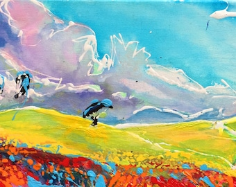 Sky Poster, Paragliding Wall Art, Adventure Poster, Paragliding Poster, Parachute Picture, Original Canvas Painting, Cottage Decor, Sports