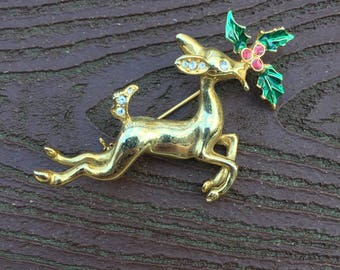 Vintage Jewelry Signed Avon Christmas Leaping Reindeer Pin Brooch