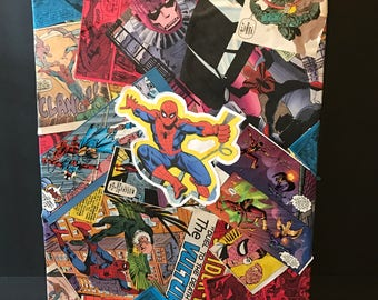 Custom Comic Collage Art on Canvas - Spider-Man