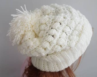 White slouchy crochet soft warm pom pom winter hat
