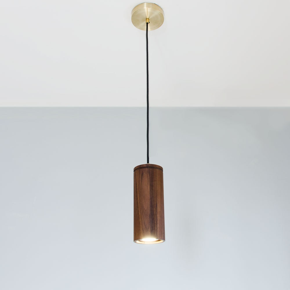 Walnut Cylinder Pendant Lamp Wood Pendant Light Brass and