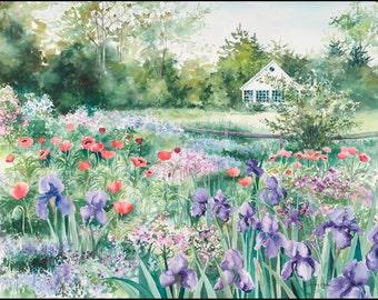 "flower painting, garden watercolor print, ""Iris and Poppy Garden""  9 1/2 x 13 1/2."