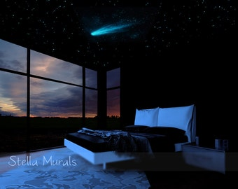 Star Ceiling | Comet and Shooting Stars Decals | 200 - 1000 Glow Star Stickers