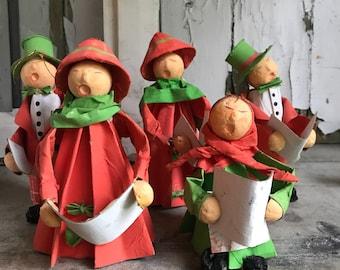 Vintage Paper Mache Christmas Singers