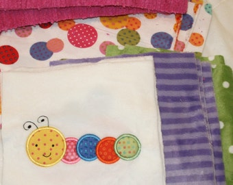 """Minky Blanket Kit, Appliqued """" Roly , Poly Baby Bugs"""""""