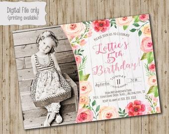 Floral Girls Birthday Invitation, Girls Birthday invite, Watercolor, Floral, Wood, Rustic, Shabby Chic, Boho Birthday Invitation, Photo