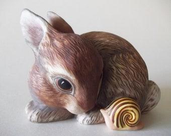 Bunny Rabbit & Snail Slowpoke Figurine, Franklin Mint Porcelain, Deborah Bell Jarrett, 1984