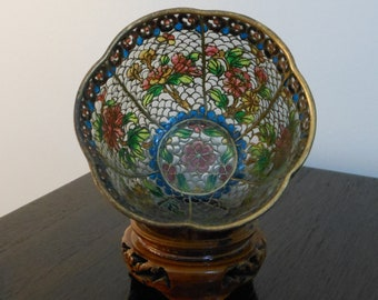 ON SALE!  Exquisite small plique-a-jour cloisonne bowl, made in China, late 20th century