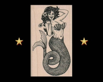MERMAID Rubber Stamp, Mermaid Gifts, Mermaid Stamp, Beach Stamp, Ocean Stamp, Sea Stamp, Nautical Stamp, Woman Fish, Scrapbooking Cardmaking