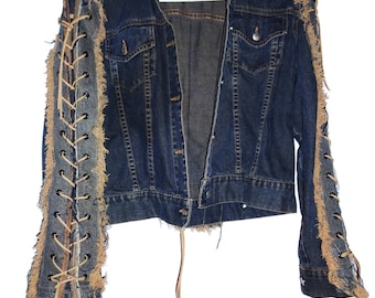 Deep blue/ light brown denim jacket with sleeves and back lace up