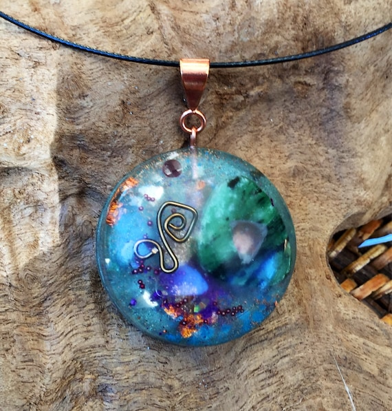 Ruby In Ziosite Orgone Pendant- Atlantis Earth Energy Orogne Necklace- Elemental Spirit Guide Communication Orgone Energy Charm- For Vision