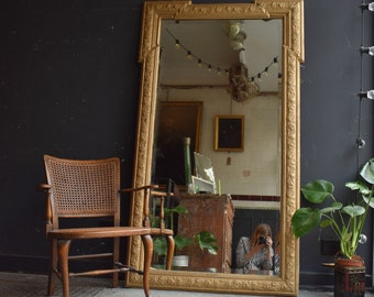Huge 19th Century floor length ornate gilt and gesso antique mirror