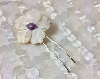 Creamy Amethyst Plumeria Mother of Pearl Flower and Gemstone Hair Pin