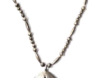 """925 Silver Teardrop Shadow Box Turquoise Nugget 4 5/8"""" Pendant Bead Necklace 23"""""""