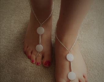 SALE: Barefoot Sandals.  Handmade, Unique, White Elasticated Barely There Sandals.
